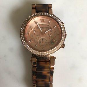 Michael Kors Rose Gold Tortoise Shell Link Watch